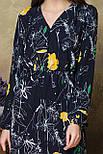 Платье с V-образным вырезом цветы на черном, фото 4