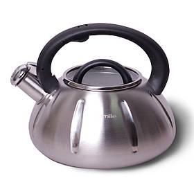 Чайник Kamille 3 л из нержавеющей стали со свистком и стеклянной крышкой для индукции