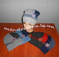 """Подростковые шапки для мальчиков оптом """"Эмблема"""" р.52-54 см"""