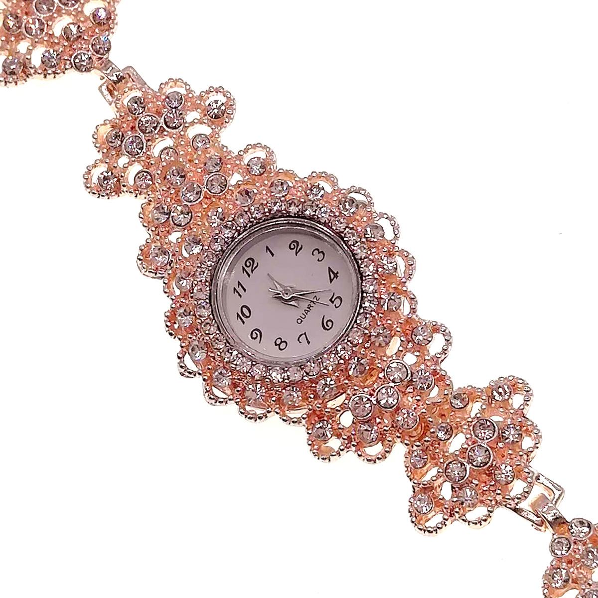 Кварцевые часы SONATA, белые фианиты, позолота РО, 95997             (1)