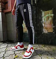 Мужские спортивные штаны Adidas брюки весна-осень-лето черные укорочены 3 полосы Турция. Живое фото