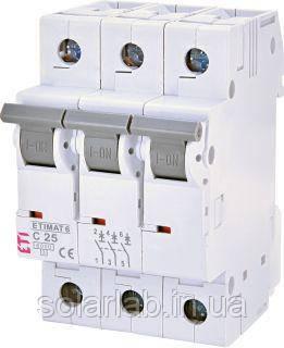 Автоматичний вимикач ETI ETIMAT 6 3p C 25A (6 кА)