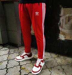 Мужские спортивные штаны Adidas брюки весна-осень-лето укороченные красные 3 полосы Турция. Живое фото