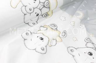 """Бязь хлопковая  """"Мишки на месяце"""" на белом-сером фоне (купон) №1704"""