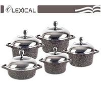 Набор посуды с крышками Lexical LG-141001-2 гранитное покрытие