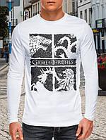 Модная футболка-лонгслив мужская, хлопок  с принтом GAME OF THRONES