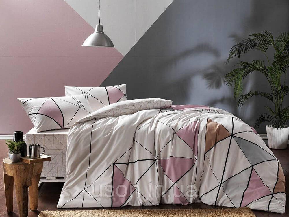 Комплект постельного белья турецкое tac ранфорс/простынь на резинке евро размер MARVEL PEMBE