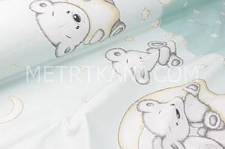 """Бязь хлопковая  """"Мишки на месяце"""" на мятном фоне (купон) №1705"""