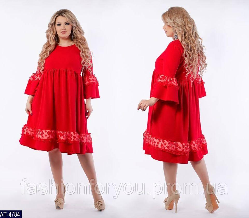 Платье с оборками и рюшами модель 246-красное
