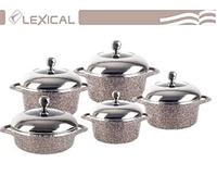 Набор посуды с крышками Lexical LG-141001-5 гранитное покрытие