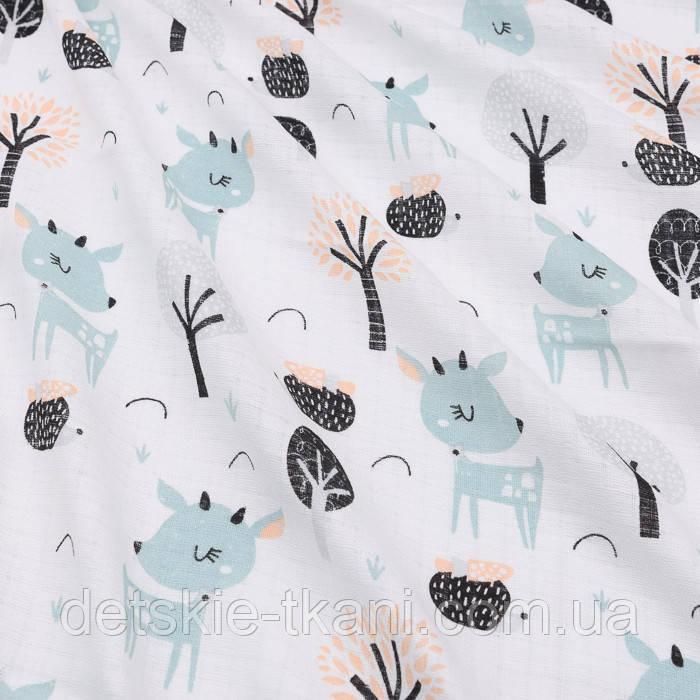 """Ткань муслин """"Серо-мятные косули и деревья"""", фон белый,ширина 80 см"""