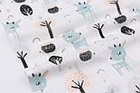 """Ткань муслин """"Серо-мятные косули и деревья"""", фон белый,ширина 80 см, фото 2"""