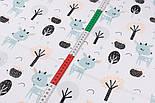 """Ткань муслин """"Серо-мятные косули и деревья"""", фон белый,ширина 80 см, фото 3"""