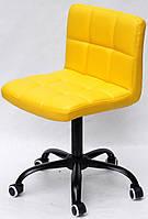 Стул Arno BK - Office на колесах, на черной базе с регулировкой высоты, желтый 1006 кожзам, код 10315