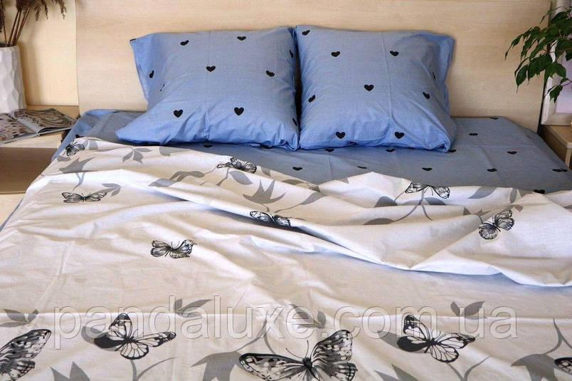 Постельное белье бязь голд, красивый двуспальный комплект с бабочками Аполлон, фото 2