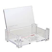 Підставка під візитки Deli 7621 прозорий прозр пласт 90мм х 55мм, фото 2