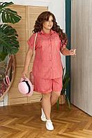"""Летний женский костюм """"TRIPOLI"""" с рубашкой и шортами (большие размеры)"""