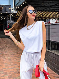 Женская стильная футболка безрукавка прямая белая, черная, бежевая