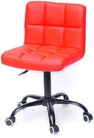 Стул Arno BK - Office на колесах, на черной базе с регулировкой высоты, красный 1007 кожзам, код 10316