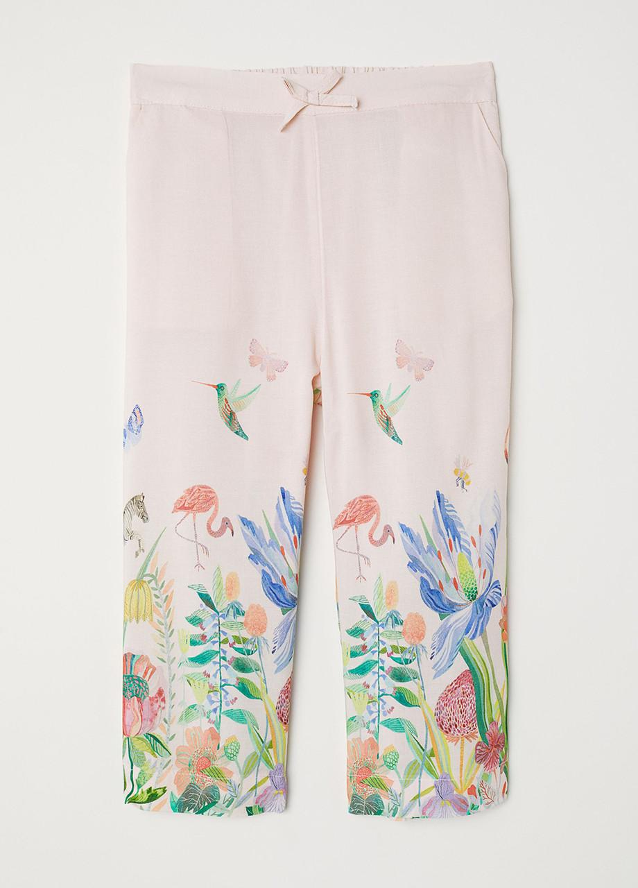 Светло-розовые летние прямые брюки H&M