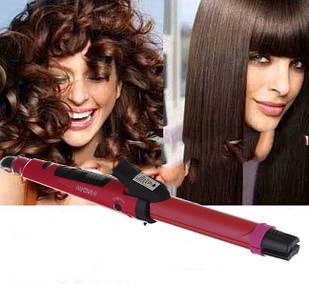 Утюжок выпрямитель плойка для волос Nova 2 в 1 стайлер