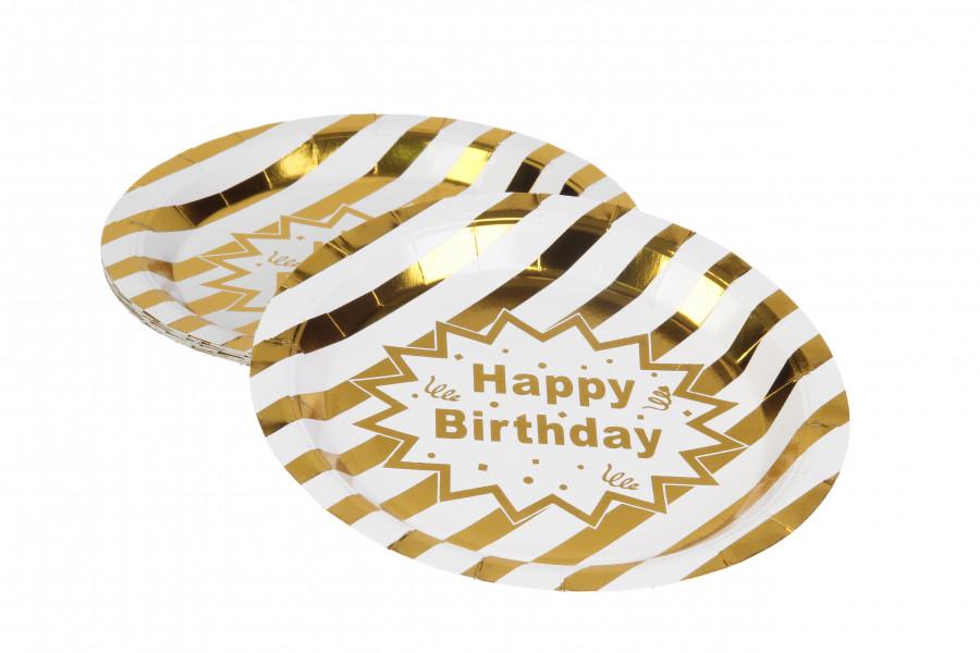 Паперові тарілки золоті HAPPY BIRTHDAY, діаметр 23 див. (10 шт.)
