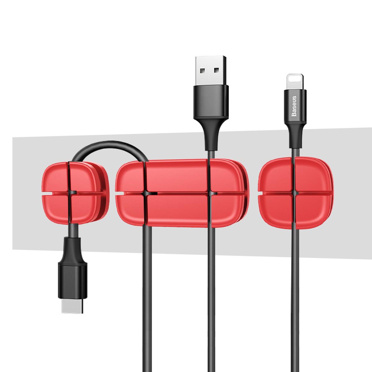 Держатель для проводов Baseus Cross Peas Cable Clip red