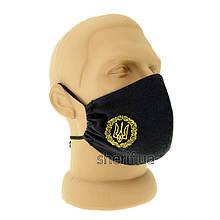 Багаторазова маска Black з фіксатором на носі (тризуб в вензелем 4 см) з 10-ю фільтрами модель 1.29(13102)