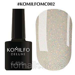 Гель-лак Komilfo Moon Crush 002 (оранжево-зеленые блесточки, прозрачный), 8 мл