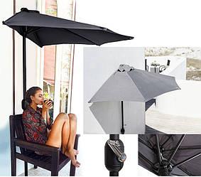 Зонт полукруглый для кафе балкона пристенный, темно-серый