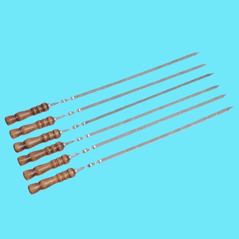 Набор шампуров с деревянной ручкой 6 шт Плоский Лак 700х13х3мм