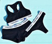 Набор спортивного нижнего женского белья CK calvin klein 3 в 1 (топ, шортики стринги) размер М