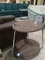 Столик барный, сервировочный стол Флоренция капучино глянец + хром