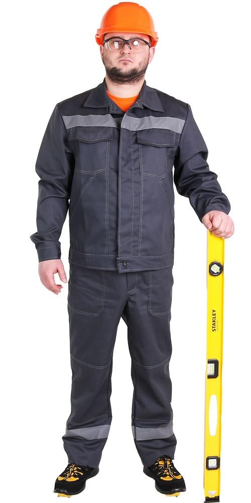 """Рабочий мужской летний костюм куртка с полукомбинезоном """"Дачник"""" (саржа, 100% хлопок)"""