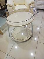 Столик барный, сервировочный стол Флоренция кремовый глянец + хром