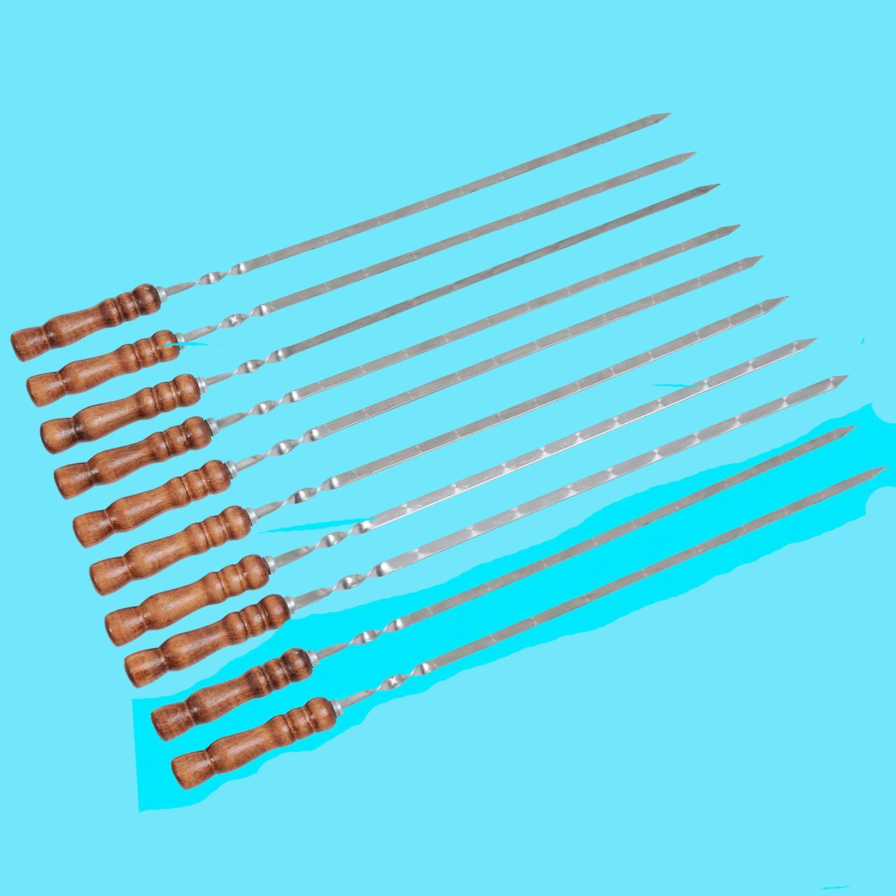Набор шампуров с деревянной ручкой 10 шт Плоский Лак 700х13х3мм