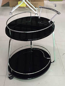 Столик барный, сервировочный стол Флоренция черный глянец + хром