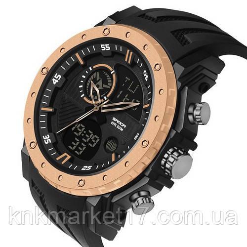 Мужские спортивные часы Sanda 6012 Black-Cuprum