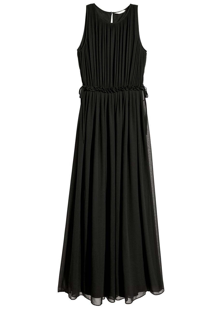 Черное вечернее платье плиссированное H&M однотонное