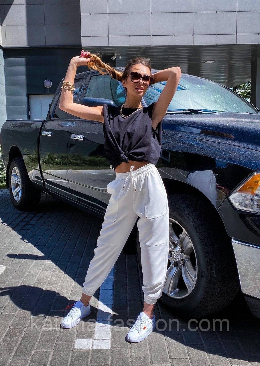 """Женские брюки в стиле """"Зара"""" с накладными карманами на резинке беж, серый, белый"""