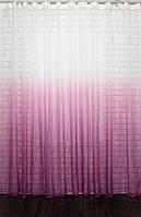 """Тюль растяжка """"Омбре"""" на батисте (под лён) с утяжелителем, цвет розовый с белым 504т"""
