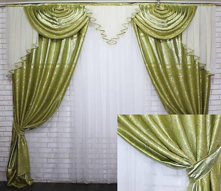 """Комплект ламбрекен зі шторами з тканини """"Блекаут"""" Код 063лш462, фото 2"""