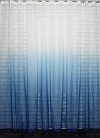 """Тюль растяжка """"Омбре"""" на батисте (под лён) с утяжелителем, цвет голубой с белым 508т"""