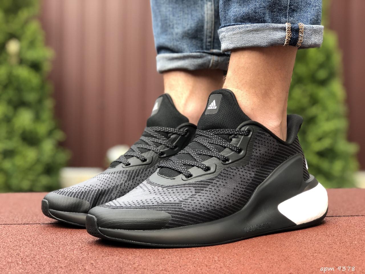 Мужские летние кроссовки Adidas Alphaboost,черно белые