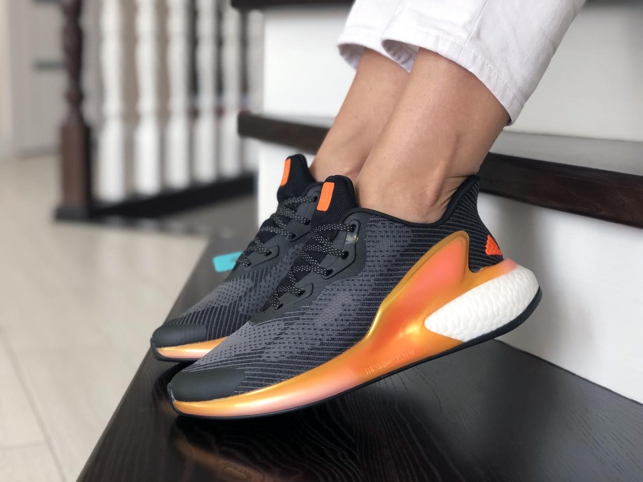 Женские модные кроссовки Adidas Alphaboost,черные с оранжевым