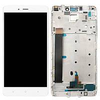 LCD Дисплей Модуль Экран для Xiaomi Redmi Note 4, MediaTek + touchscreen, белый, с передней панелью