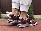 Женские кроссовки New Balance 991,бордовые, фото 3