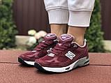 Женские кроссовки New Balance 991,бордовые, фото 4