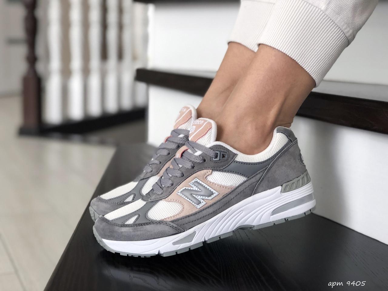 Женские кроссовки New Balance 991,серые с белым