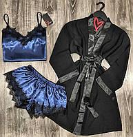 Молодежный комплект тройка для сна и дома халат и пижама(майка+шорты).